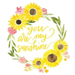sunflower fields you are my sunshine floral wreath - 8x8 inches