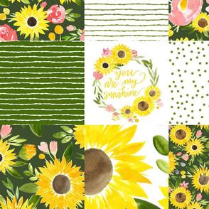 sunflower fields garden green cheater quilt 3x3