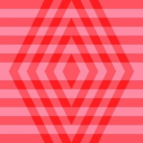 JP37 - Large - Buffalo Plaid Diamonds on Stripes in Scarlet Red and Pink