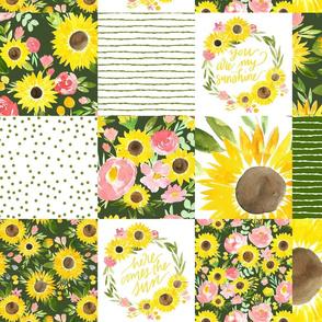 sunflower fields garden green cheater quilt