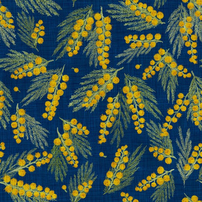Golden Mimosa Linen (Blue) 18""