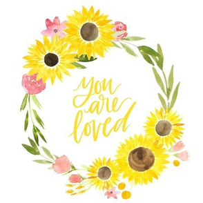 sunflower fields you are loved floral wreath - 8x8 inches