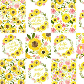 sunflower fields wreaths cheater quilt