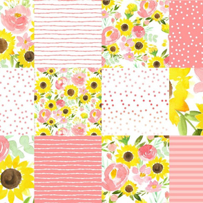 sunflower fields sweet pink  cheater quilt