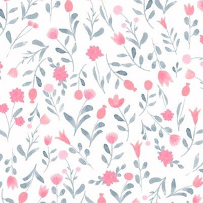 Small watercolor flowers pink and grey