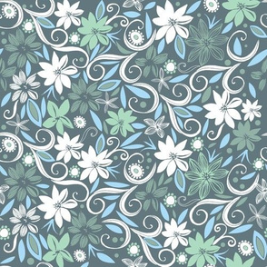 flowerbed | green and blue