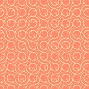 Swirling Path Geo, in Peach
