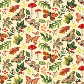 Animalier Forest Butterflies on Cream by Angel Gerardo - Small Scale