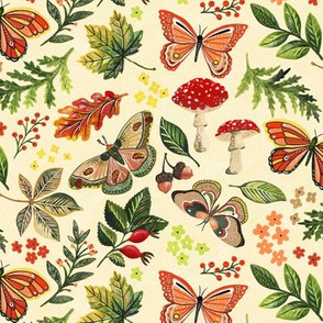 Animalier Forest Butterflies on Cream by Angel Gerardo
