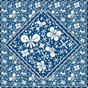 Quilting square of butterfly blues.
