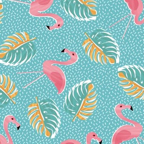 Ditsy  lawn flamingos & monsteria - duck egg blue