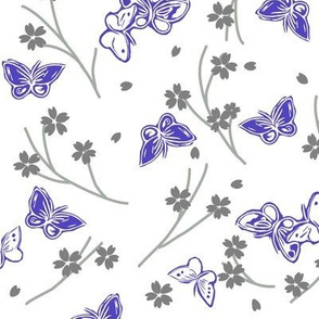 Butterfly and cherry blossom white back ground