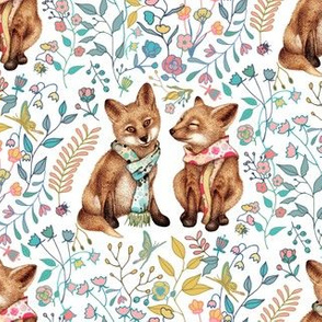 Fox Pup Pair in Spring - small - on white