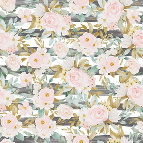 Blush Gold Floral Collage Striped