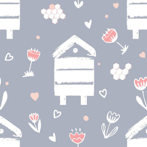 Beehives and cartoon flowers