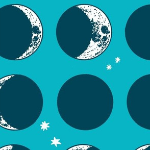 moon phases - large scale - teal