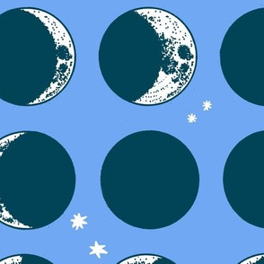 moon phases - large scale - periwinkle
