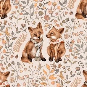 Fox Pup Pair - natural colors - small
