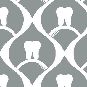 Pretty Molars on a Brush / Grey & White Modern