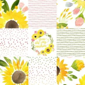 sunflower fields you are my sunshine cheater quilt