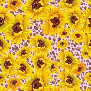 Sunflower Shower on pink leopard SMALL scale