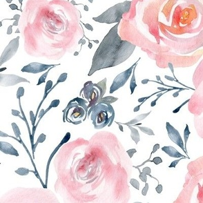 Sophia Floral – Watercolor Blooms, Pink Blush Gray Navy, LARGER scale