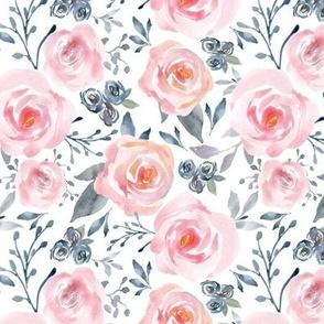 Sophia Floral – Watercolor Blooms, Pink Blush Gray Navy, MEDIUM scale