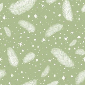 Feathers and Stars Sage Gree