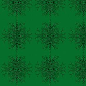 Green Man Twig Burst, Emerald Green Black