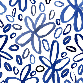 Classic Blue Painterly Floral
