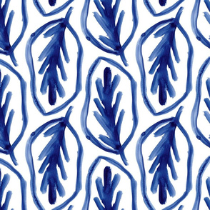 Classic Blue Painterly Leaves