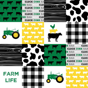 farm life - wholecloth green, yellow, and black (black cows) - Holstein cow print - woodgrain C20BS