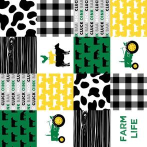 farm life - wholecloth green, yellow, and black (black cows) - Holstein cow print - woodgrain(90)  C20BS