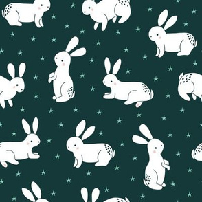 bunnies and stars // rabbits // woodland