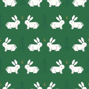 moon bunnies // rabbits // trees // crescent moons