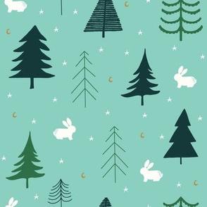 bunny forest // rabbits // trees // stars