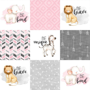 Safari//Zoo//Pink - Wholecloth Cheater Quilt
