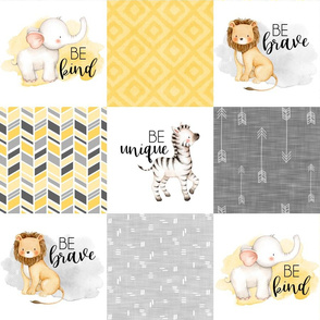 Safari//Zoo//Yellow - Wholecloth Cheater Quilt