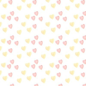 watercolor pink and gold hearts