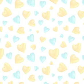 watercolor blue and gold hearts
