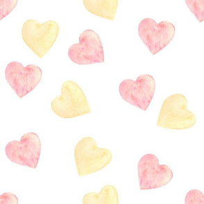 Pink and yellow hearts