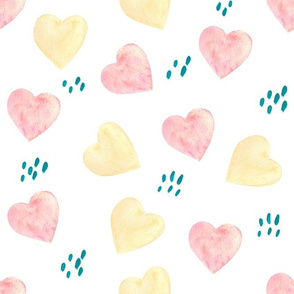 Pink and gold hearts watercolor