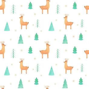 christmas deer watercolor pattern
