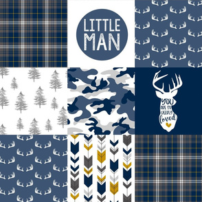 Little Man//Deerly Loved - Navy/Grey/Mustard - Wholecloth Cheater Quilt