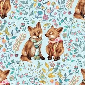 Springtime Fox Pair - small - on baby blue