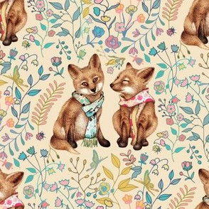 Red Fox Pair - small - on tan