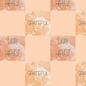 Harvest Words, Happy Harvest and Grateful, orange peach