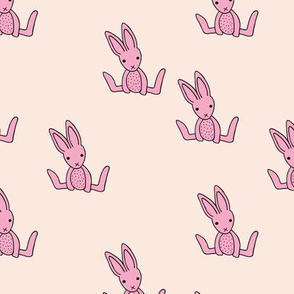 Little bunny love minimalist rabbit baby illustration for nursery soft creme pink girls