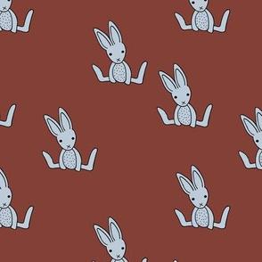 Little bunny love minimalist rabbit baby illustration for nursery stone red maroon blue