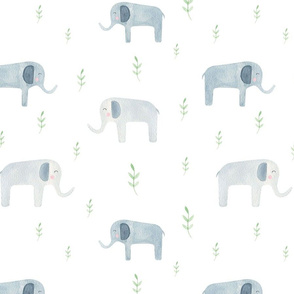 Cute elephants with leaves